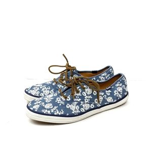 Keds Blue Denim Floral Lace Up Sneakers